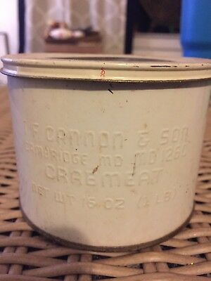 16 Oz. I F Cannon & Son Cambridge Md # 126c Crab Meat Not Oyster Crabmeat Can