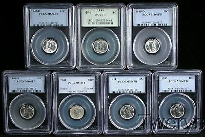7 Piece Lot 1940-D 41 42 43 43-D 44 1945-D Mercury Dimes Pcgs Ms 66Fb