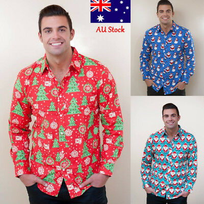 Men Christmas Long Sleeve Casual Tops Slim Fit Button Front Shirt Fashion Tee