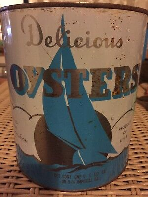 Gallon Delicious Oysters Tin Can Bay Food Prod Co Sailboat Grasonville MD 116