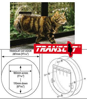 TRANSCAT 4 Way Cat Dog Pet Door for Glass Doors, Glass Panels -12 Month Warranty