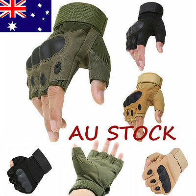 Military Tactical Gloves Airsoft Fingerless Outdoor Hard Knuckle Sport