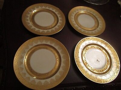 "Heinrich & Co Germany Gold Crust Flowers Garland 4 China Plates, 10 3/4"" Diam"