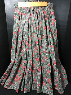 Pitchfork Brand Cotton Crinkle Square Dance Skirt M Tiered