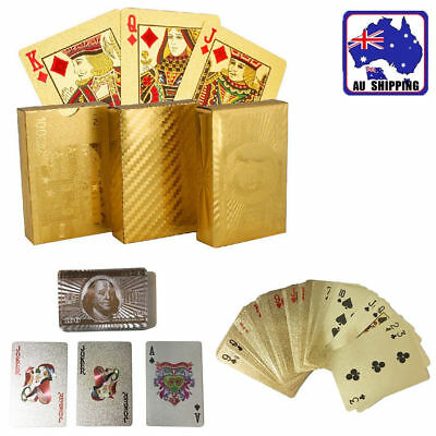 1 set Magic Game Poker Playing Cards Deck Waterproof  Silver/Golden GSPO783