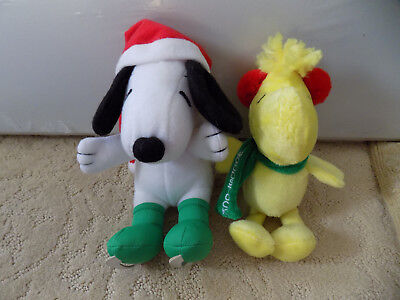 "Lot Snoopy Christmas Hallmark Plush Peanuts Ice Skating Santa hat 5"" & Woodstock"