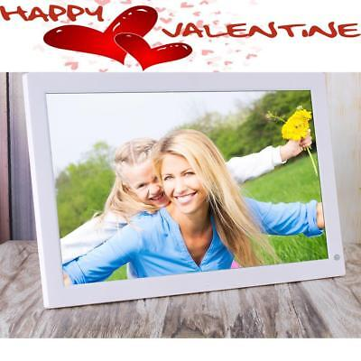 """18.5"""" HD Wide Screen Digital Photo Frame Picture as Valentine's Day Gift White"""
