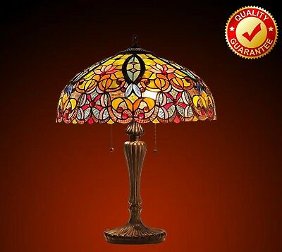 NEW - Tiffany Style Lamp / TABLE Lamp Antique Bronze Finish Cut Stained Glass
