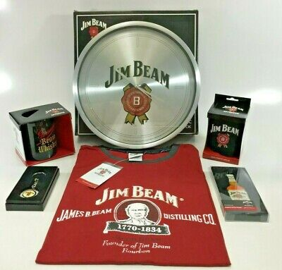 Jim Beam Christmas Hamper Pack Clock Tankard Keyring Cup T-Shirt Fridge Magnet