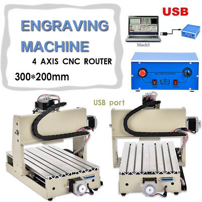 Usb Port 300W 4Axis 3020T Cnc Router Engraver/engraving Machine Drilling Milling
