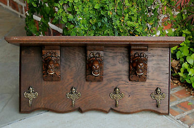 Antique English GOTHIC  Oak Wall Shelf Coat Hat Copper Pot Rack Kitchen Lion