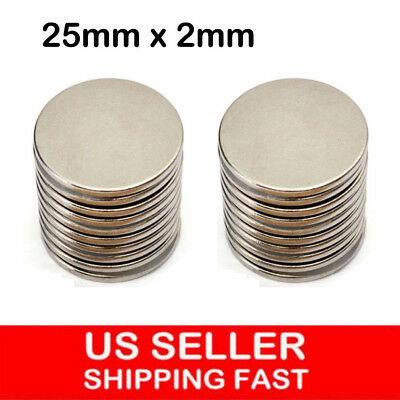 5-20Pcs Super Strong Round Disc 25mm x 2mm Magnets Rare Earth Neodymium N35 Lot