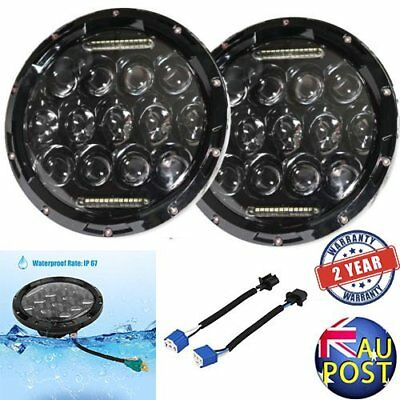 2x 7inch 150w Philips Led Headlight Round Harley Jeep Wrangler H/L/DRL AUS