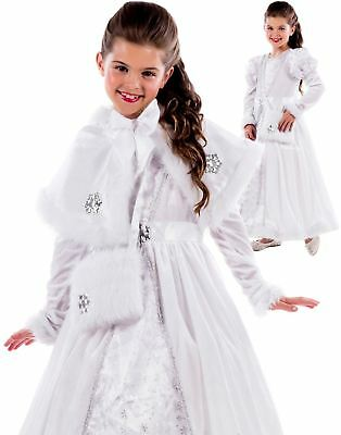 Girls Royal Ball Gown Costume Snow Queen Princess Fairytale Fancy Dress Outfit
