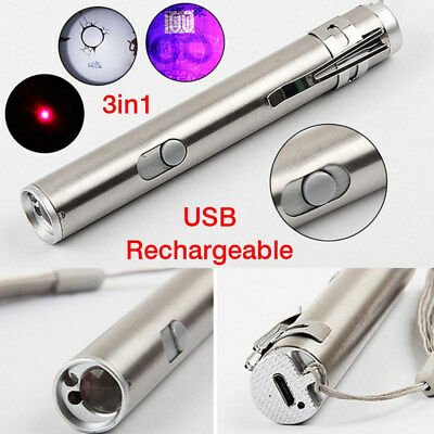 3 in1 Multifunction USB Rechargeable LED Laser UV Torch Pen Flashlight Lamp GTHM