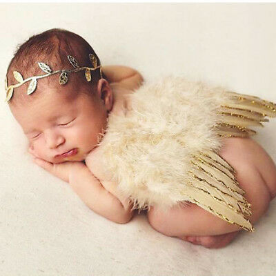 Girls Boys Newborn Baby Gold Angel Wings Leaf Headband Photo Photography Props