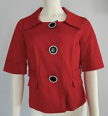STYLE & CO Red Jacket With Big Buttons 3/4 sleeve  Size 6