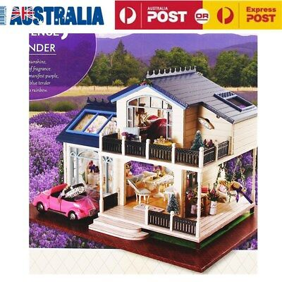 DIY Wooden Dolls House Miniature Kit w/ LED Light Furniture -Dollhouse Kids Toy