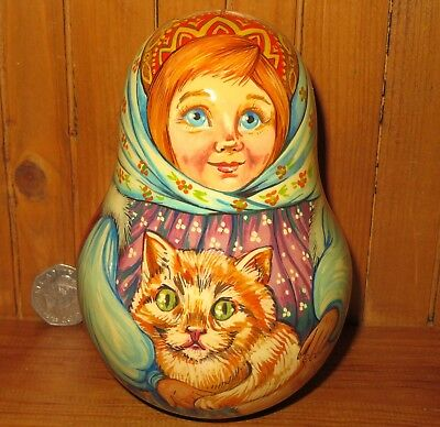 Genuine Russian HAND PAINTED Wobbly doll ROLY POLY Ginger Cat MATRYOSHKA signed