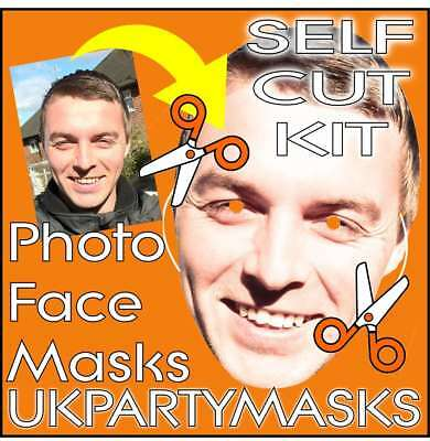 Photo Face Masks Self Cut Kit Personalised Stag Hen Wedding Birthday Party Print
