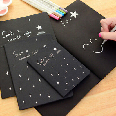 All Black Paper Notepad Memo Diary Sketch Drawing Notebook Exercise Book Cool
