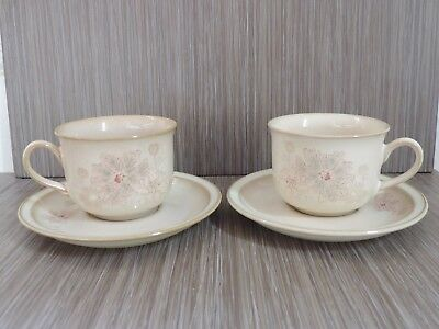 Denby Sandalwood 2 tea cups and saucers