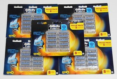 New 5 X Gillette Fusion Proshield Chill Pack of 8 Cartridges (40 Blades)RRP$260