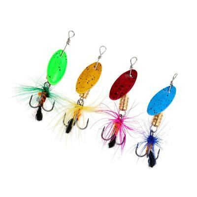 4Pcs Metal Spoon Fishing Lures Spinner Baits Bass Tackle for Ice/Fly Fishing