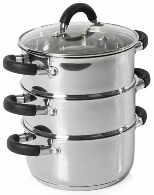 Tower 3 Tier Steamer with Lid, Silver/Black