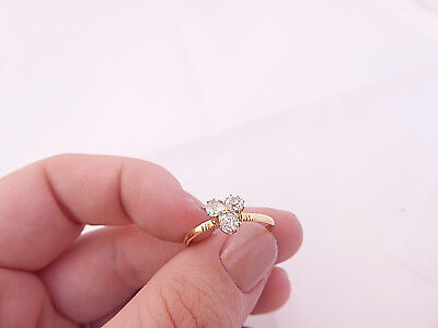 15ct/ 15k gold 45 point old mined cut Diamond three stone ring, 625