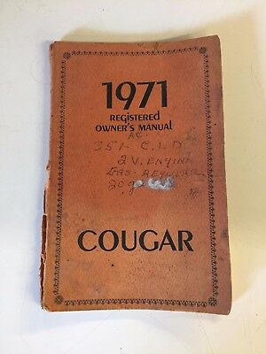 Vintage 1971 Registered Owner's Manual COUGAR Ford Lincoln Mercury Division Auto
