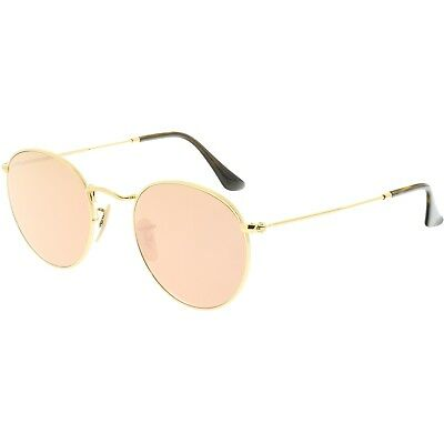 Ray-Ban Women's Mirrored Round Flat RB3447N-001/Z2-50 Gold Sunglasses