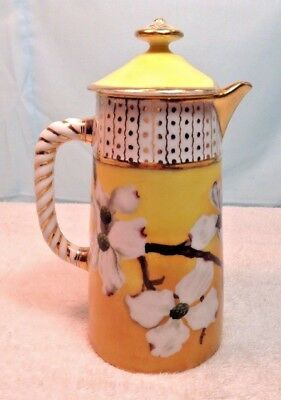 Vintage Hand Painted Flowers PITCHER Gold Trim w/ Lid~dated 1888~ESTATE FIND