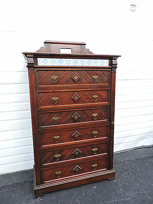 Tall Victorian Tiled Wellington Chest of Drawers 6645