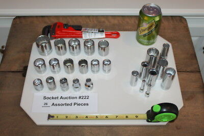 "(Lot of 26 New) Armstrong Sockets 1/4"" 3/8"" & 1/2 Ridgid Pipe Wrench 31010 #222"