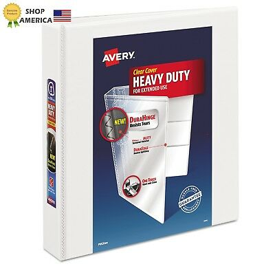Heavy-Duty View Binder with 1.5-Inch One Touch EZD Ring, White