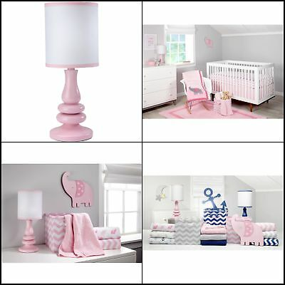 Pastel Pink Lamp Shade White Cover Perfect Accent Resin Base Night Girls Bedroom