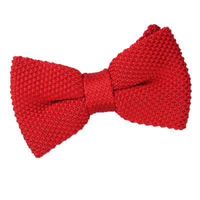 DQT Knit Knitted Plain Solid Crimson Red Classic Mens Pre-Tied Bow Tie