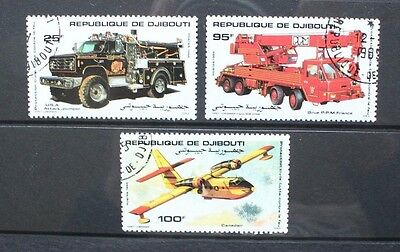 DJIBOUTI 1984 Fire Fighting Trucks Aircraft. Set of 3. Fine USED/CTO. SG929/931.