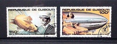 DJIBOUTI 1980 Aviation First Zeppelin Flight. Set of 2. Fine USED/CTO. SG797/798
