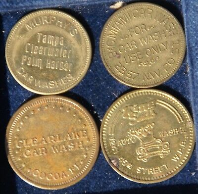 Florida Car Wash Tokens (4) Miami, Clearwater, West Palm Beach, Cocoa, Car Wash