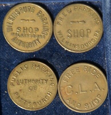 Lot of Four (4) Pennsylvania Parking Tokens Wilkinsburg, Pittsburgh, Lebanon CLA