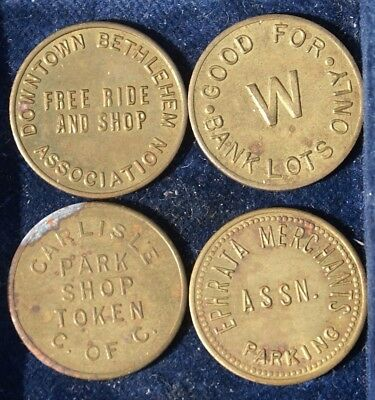 Pennsylvania Parking Tokens Lot of Four (4) Free Park & Shop Park Shop Token