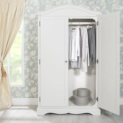 Romance White Double Wardrobe,Quality French full hanging robe, crystal handles