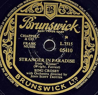 Schellackplatte 78rpm - Bing Crosby - Stranger In Paradise / Who Gave gramophone