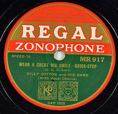 Schellackplatte - Billy Cotton - Wear A Great Big Smile / It Was Four O'Clock...