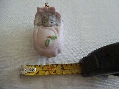 "Vintage 1990 Schmid ""kitty Cucumber"" Porcelain Cat Ornament With All Seals"