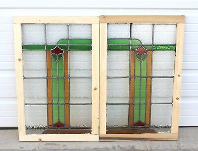 Antique English PAIR 5-Color Leaded Stained Glass Windows Reframed ART DECO 1920