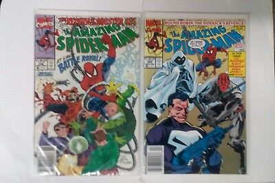 The Amazing Spider-Man issue #338 + 355 comic books(Marvel,1990,1991)