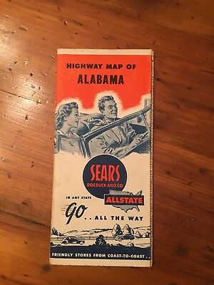 1940s Sears Allstate Highway Map - Alabama